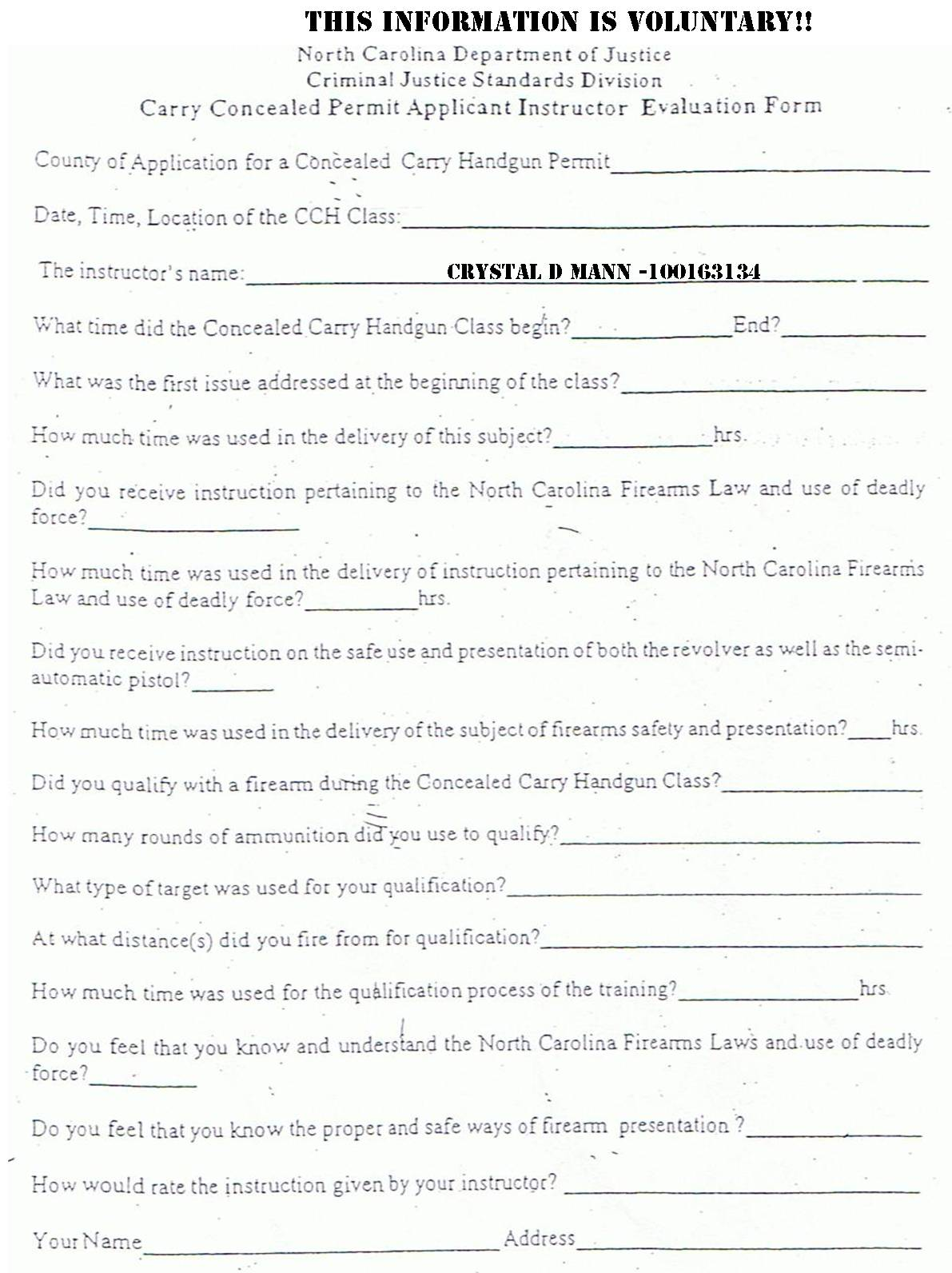 NC Concealed Carry Handgun Application Other Docs CCWOFNC – Instructor Evaluation Form